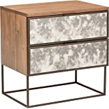 "Rivet Modern Wood and Antique Mirror Panel Nightstand, 24"", Brown"