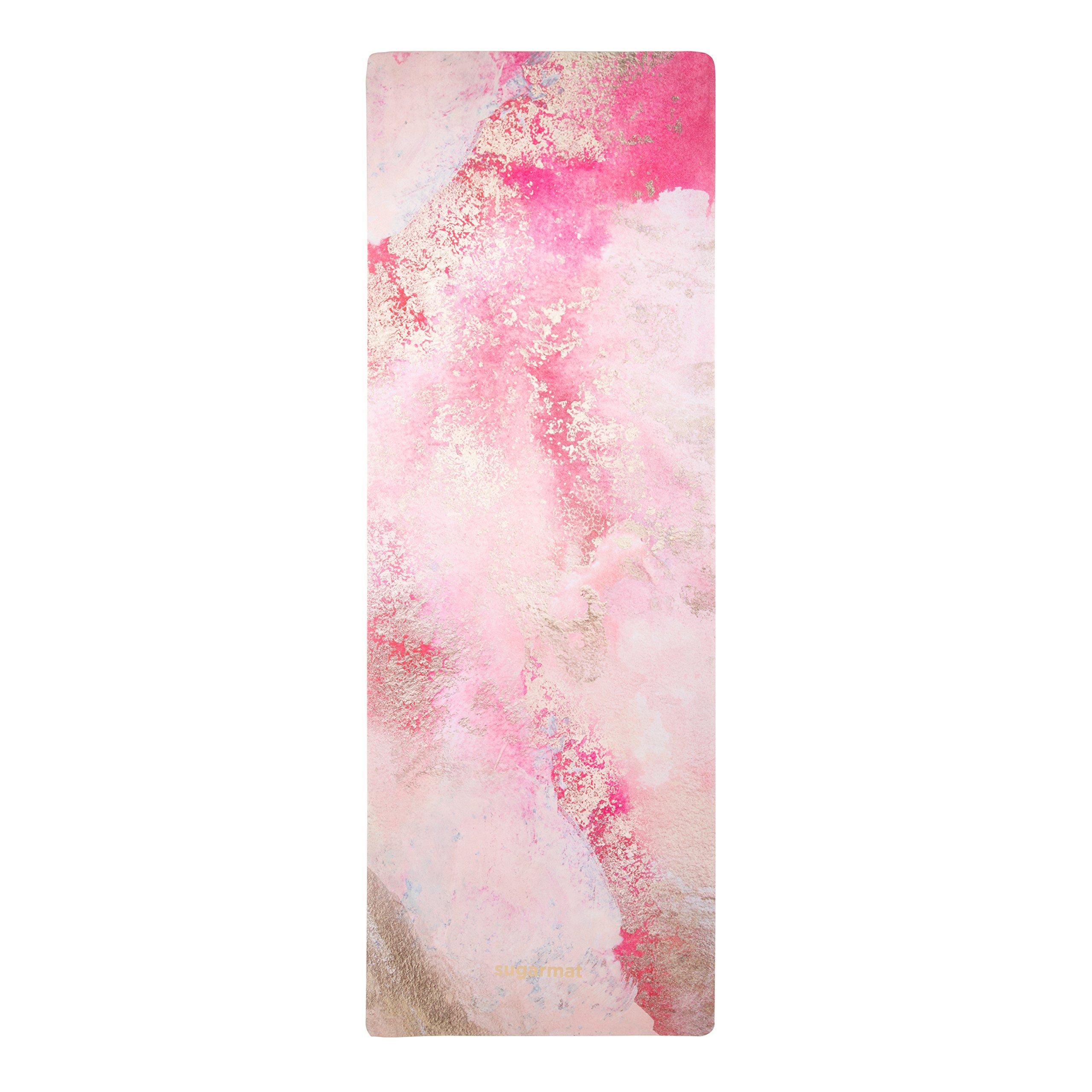 ''Love Affair'' Designer Yoga Mat by Sugarmat I Eco Luxury and Non-slip I Designed in Montreal I Ideal for Yoga, hot yoga, Pilates I Machine washable I Non-faded color I Include yoga strap by Sugarmat