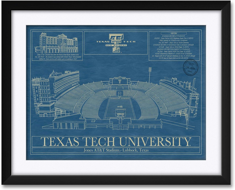 Amazon Com Northwest Art Mall Jones At T Football Stadium Texas Tech University Framed Matted Hand Drawn By Robert Redding Print Size 17 X 25 Framed Size 24 X 32 Posters Prints
