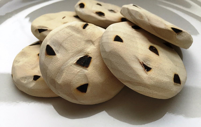 Half Dozen Chocolate chip cookies wooden play food or teether