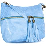 Big Handbag Shop donna vera pelle tasca frontale lunga Tassel Estrattore Borsa