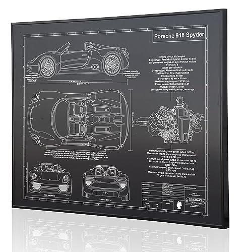 Amazon Com Porsche 918 Blueprint Artwork Laser Marked
