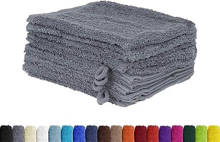 Juego de 10 manoplas de baño en muchos colores, 100% algodón, 10 manoplas de 15 x 21 cm, 100 % algodón, antracita, 15 x 21 cm: Amazon.es: Hogar
