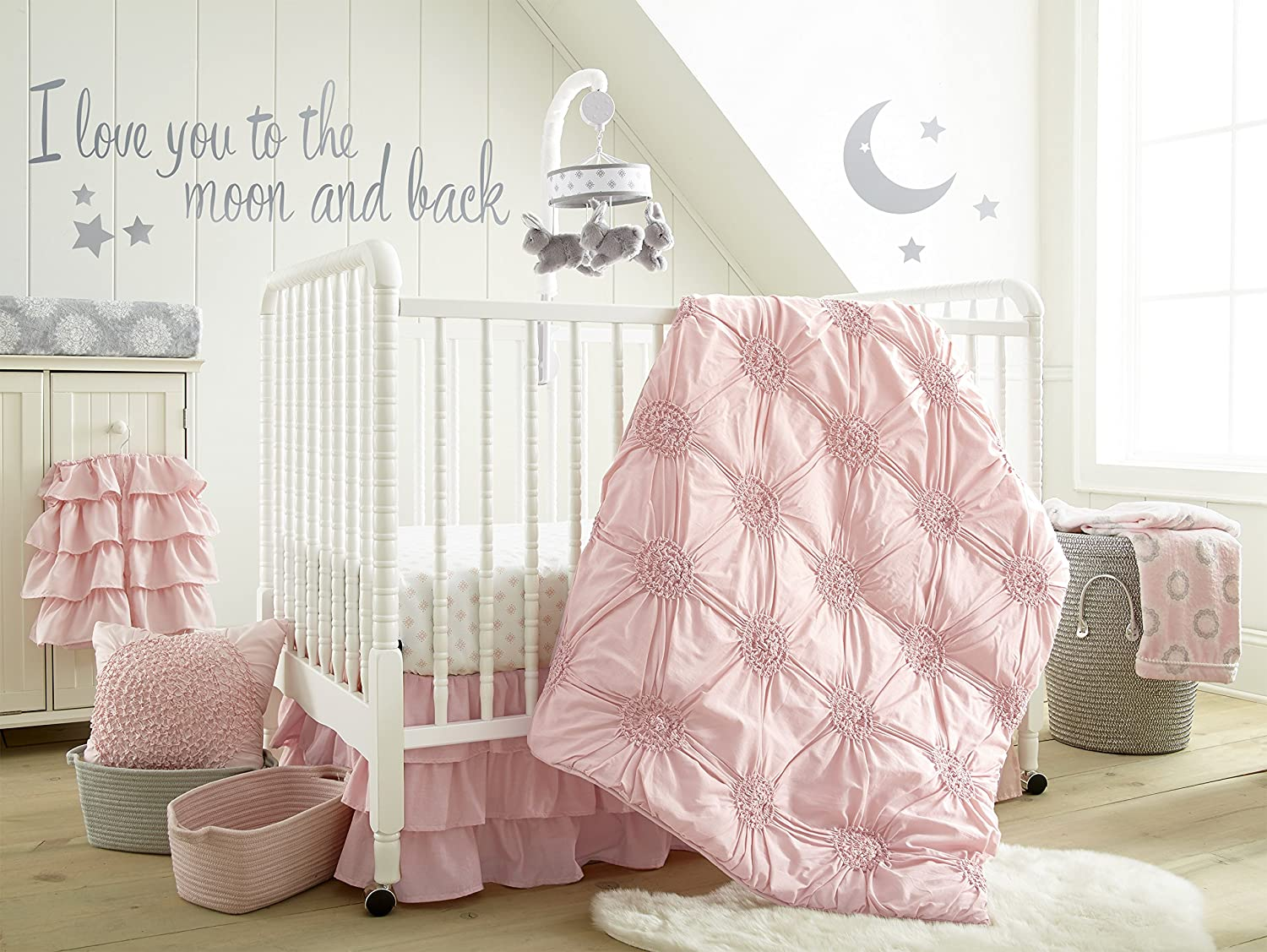 Amazon Com Levtex Baby Willow Crib Bed Set Baby Nursery Set Pink Soft Rosette Pintuck 5 Piece Set Includes Quilt Fitted Sheet Diaper Stacker Wall Decal Crib Skirt Dust Ruffle Baby