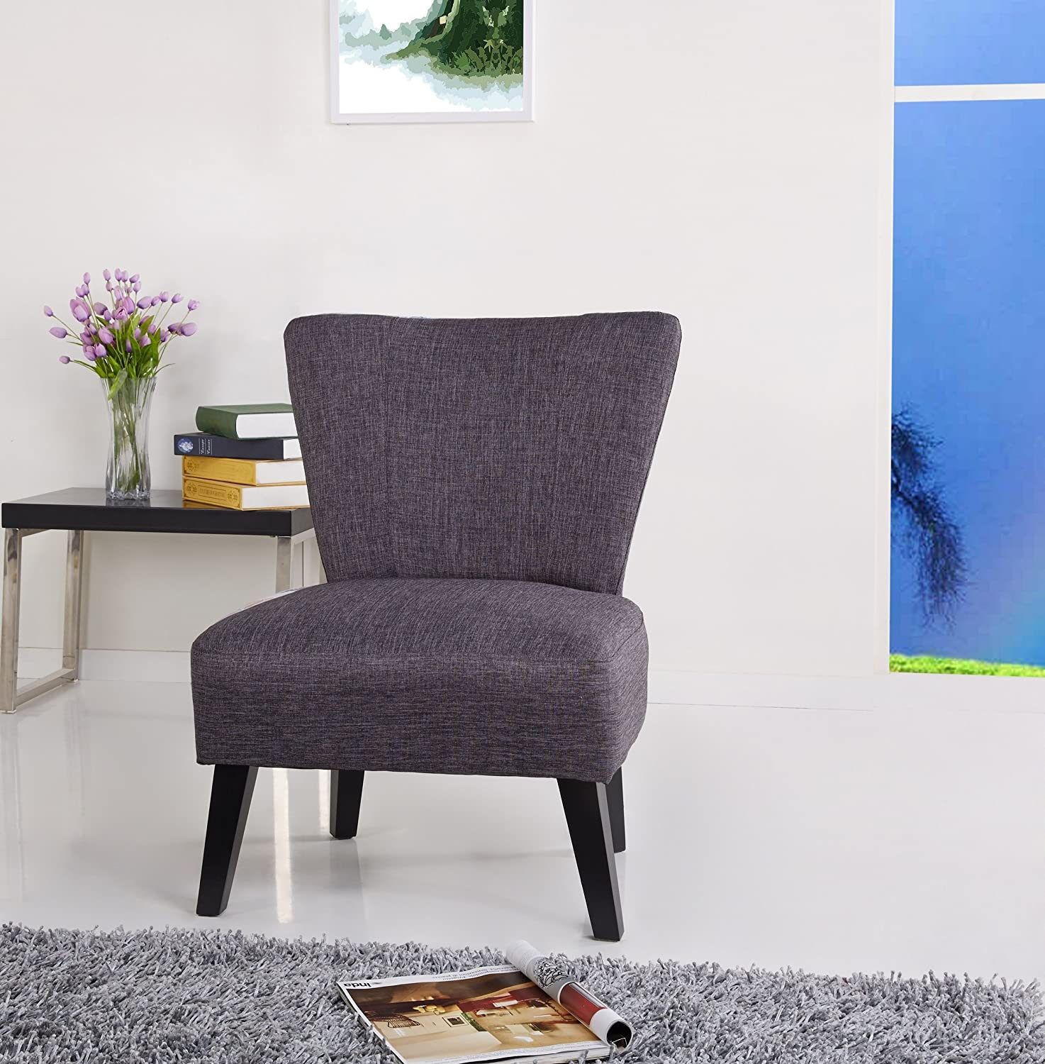 Amazon.com: US Pride Furniture Alice Solid Color Fabric Accent Chair, Grey:  Kitchen U0026 Dining