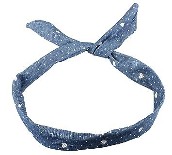 9caada69c99a Wire Headband Retro Wired Head Scarf Rockabilly Wire Hair Band Head Wrap  Vintage Medium Denim Heart
