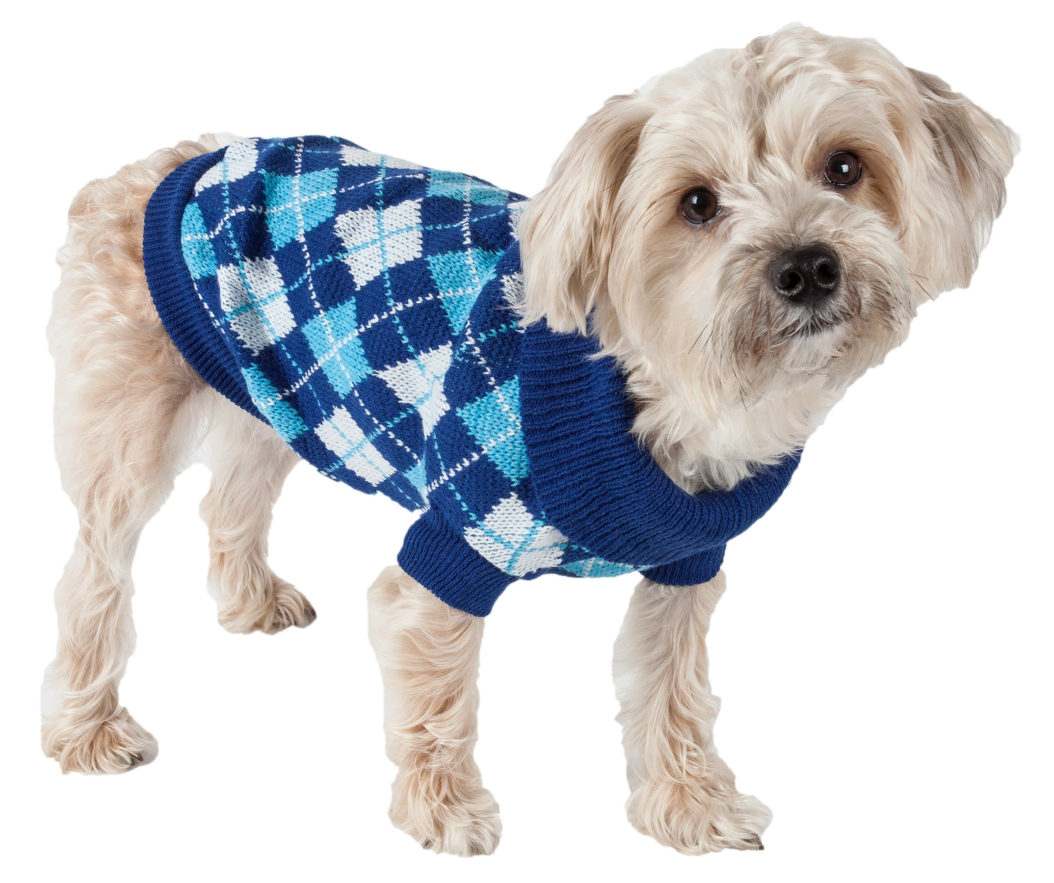 Pet Life Argyle Style' Ribbed Fashion Designer Pet Dog Sweater, Medium, Black/Blue Argyle
