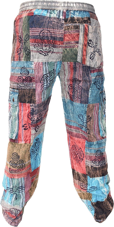 Little Kathmandu Patchwork Elastic Cotton Loose Straight Casual Trousers