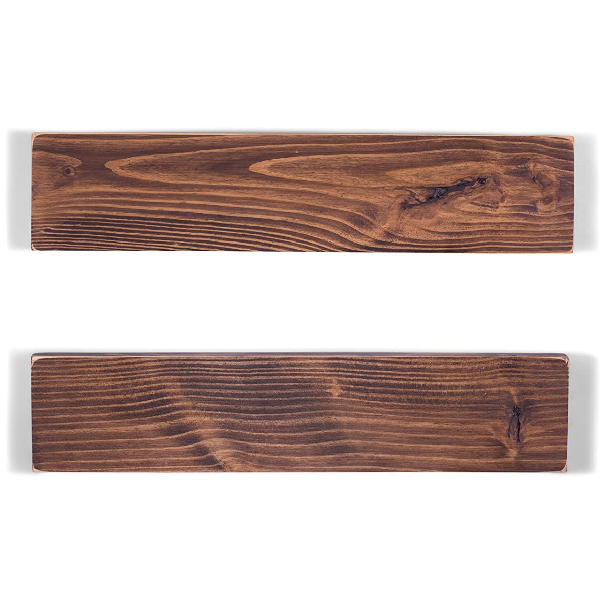 "DAKODA LOVE Weathered Edge Floating Shelves, USA Handmade, Clear Coat Finish, 100% Countersunk Hidden Floating Shelf Brackets, Beautiful Grain Pine Wood Rustic Wall Decor (Set of 2) (24"", Espresso)"