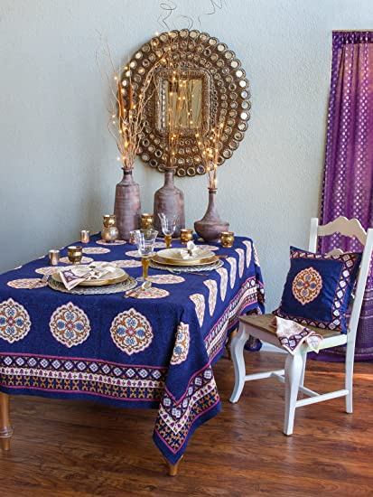 Sultans Palace ~ Purple Blue Moroccan Vintage Print Tablecloth 70x90