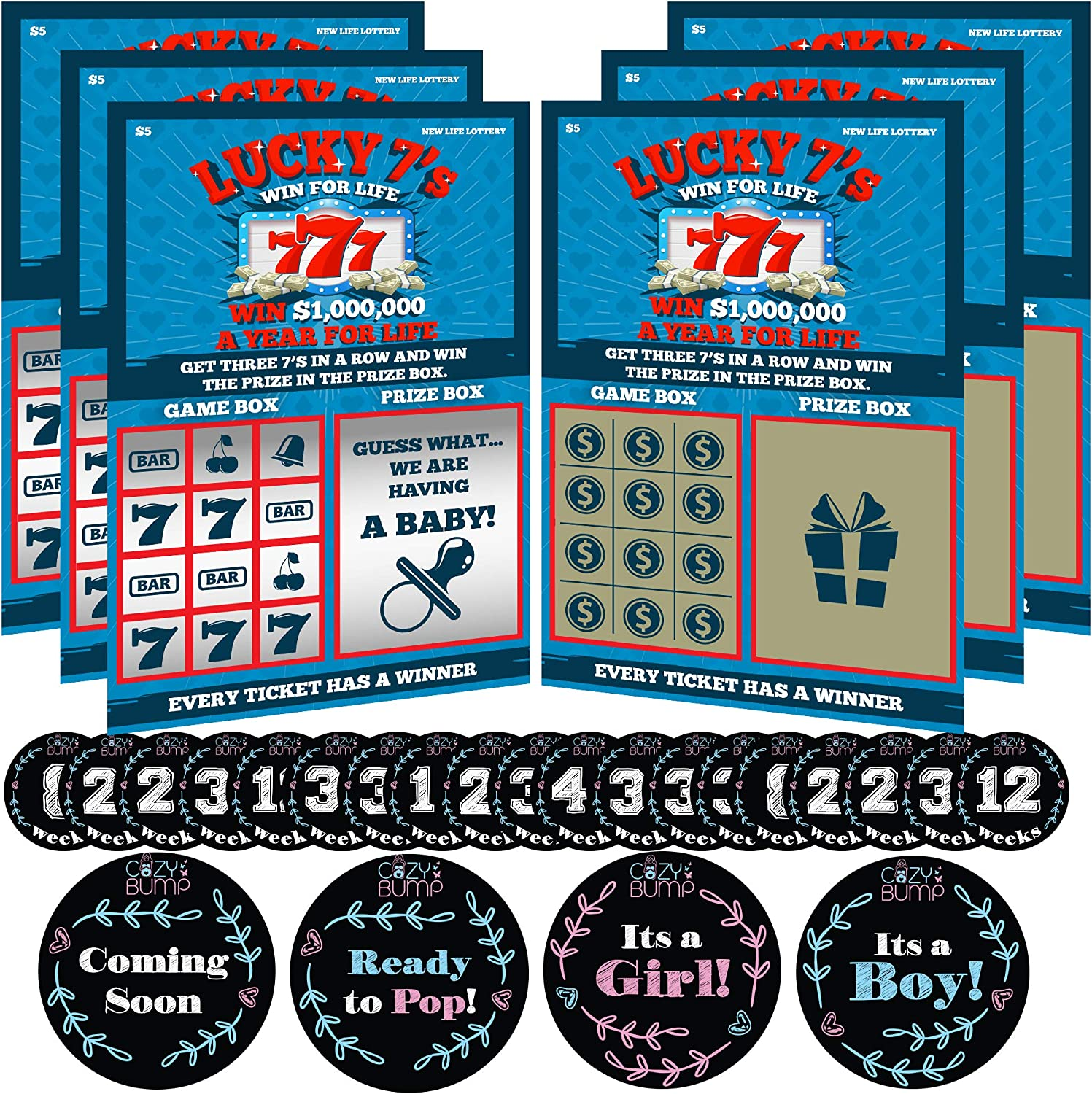 Pregnancy Announcement Scratch Off Cards for Baby Announcement - 6 Pregnancy Scratch Offs Included - Comes with Pregnancy Stickers