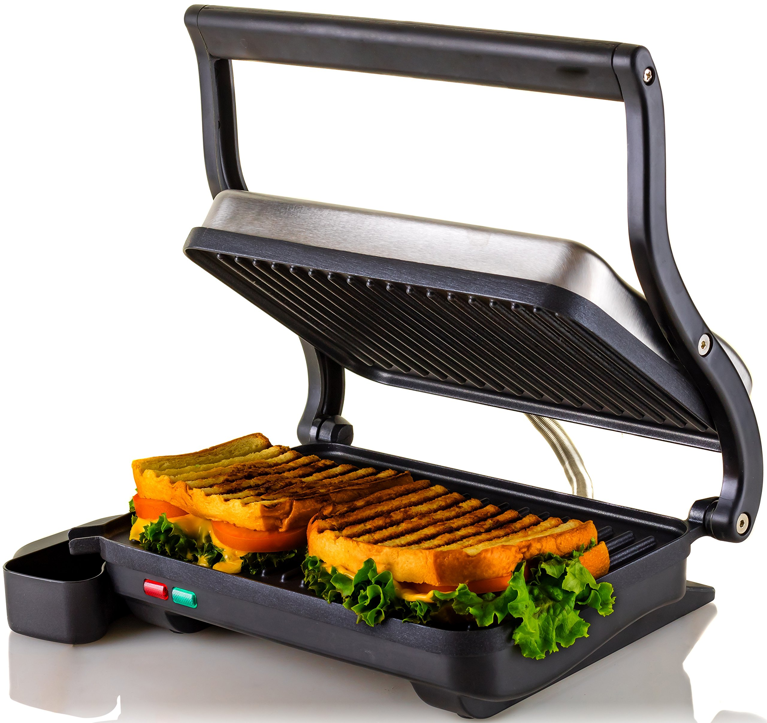 Ovente Electric Indoor Panini Press Grill with Non-Stick Double Flat Cooking Plate & Removable Drip Tray, Countertop Sandwich Maker Toaster Easy Storage & Clean Perfect for Breakfast, Silver GP0620BR
