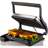Ovente Electric Indoor Panini Press Grill with Non-Stick Double Flat Cooking Plate & Removable Drip Tray, Countertop Sandwich