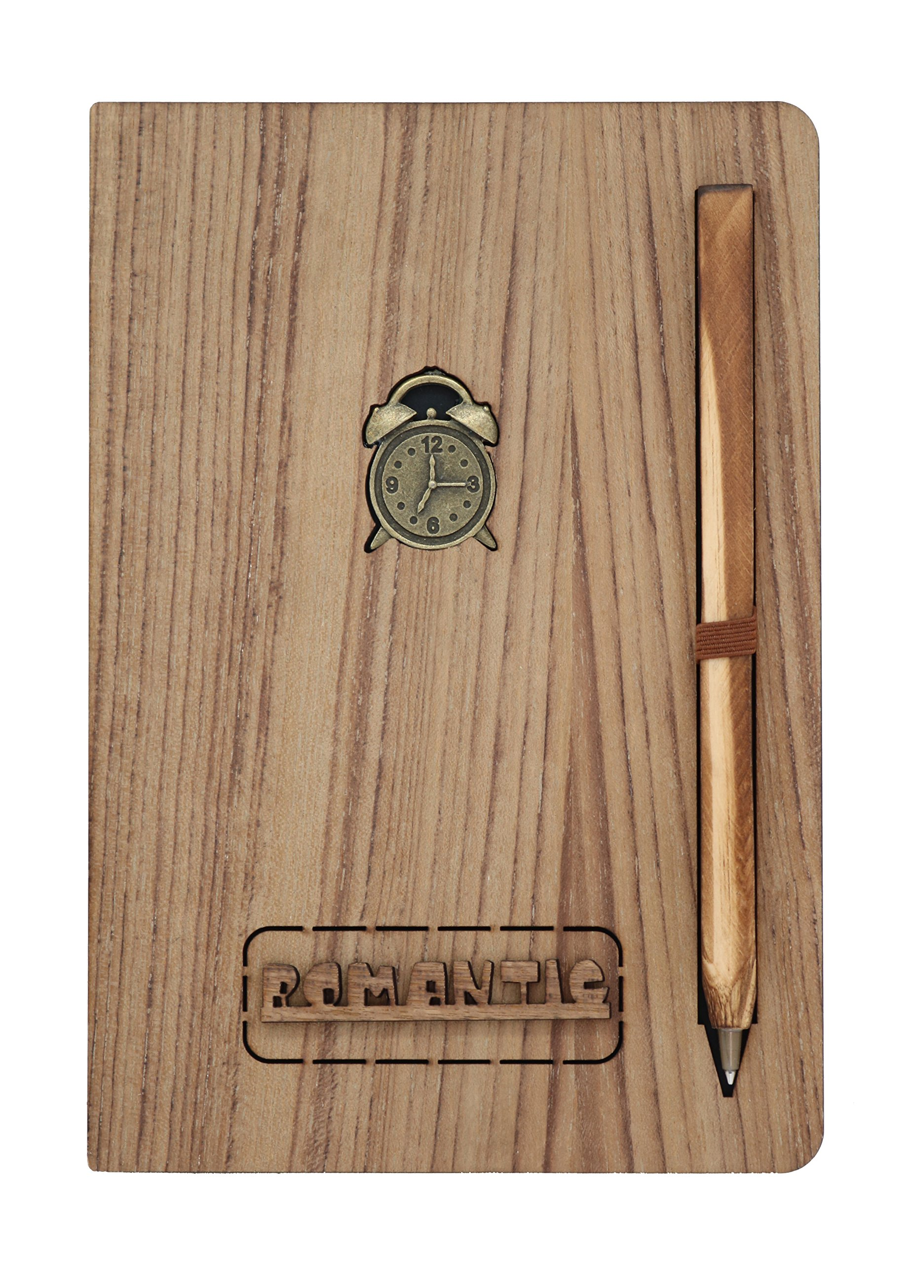 Wooden Notebook with Attached Pen - Natural Wood Series   Unique Wood-Covered Notebook & Pen Set with Bronze Crests   No Line, White/Brown Pages with Designs (Clock)