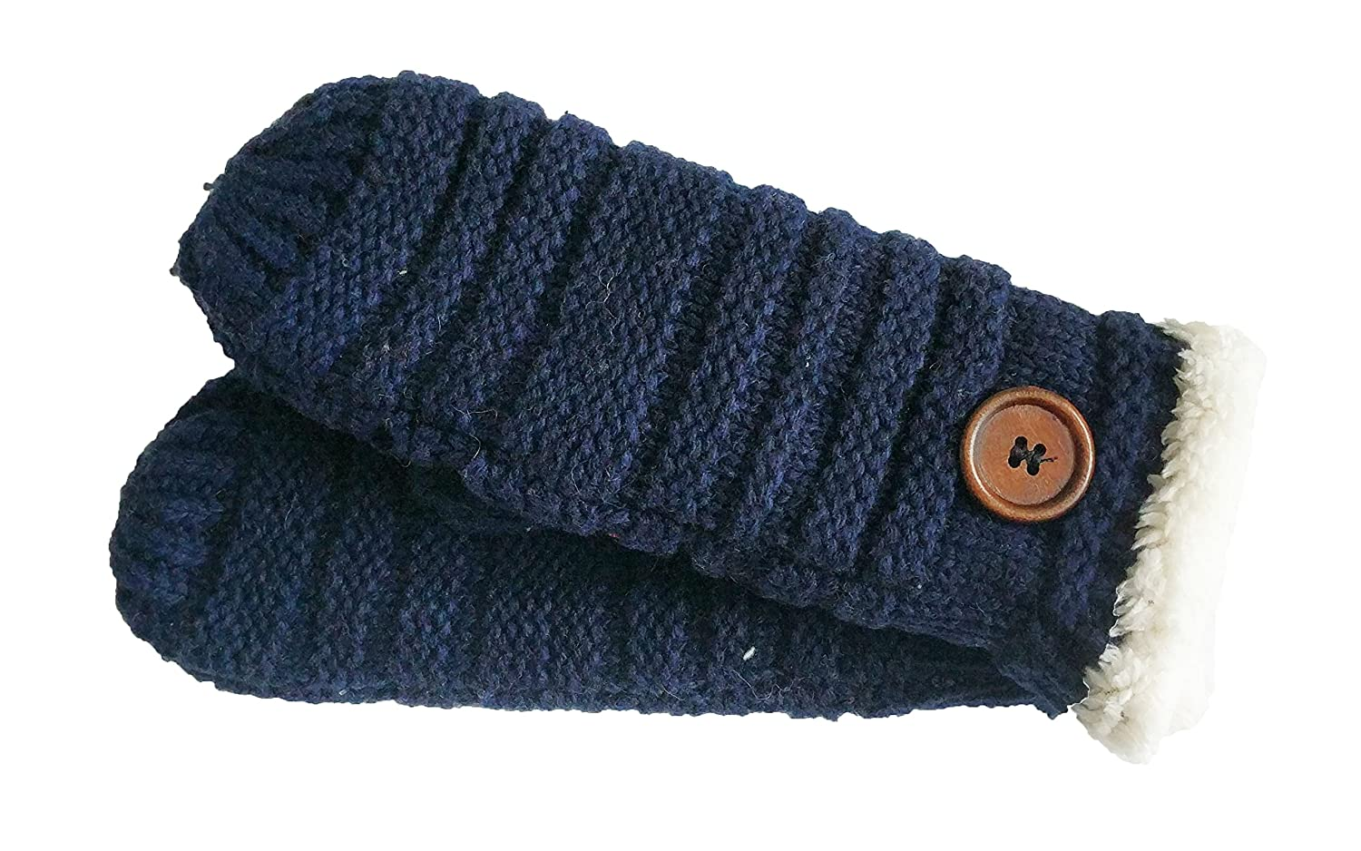 Winter Warm Knitted Mitten Gloves For Women Navy Eclissy