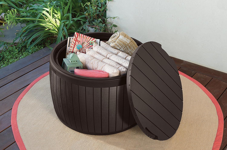 Keter Capacidad 143 litros Arc/ón exterior redondo Circa Wood Color marr/ón