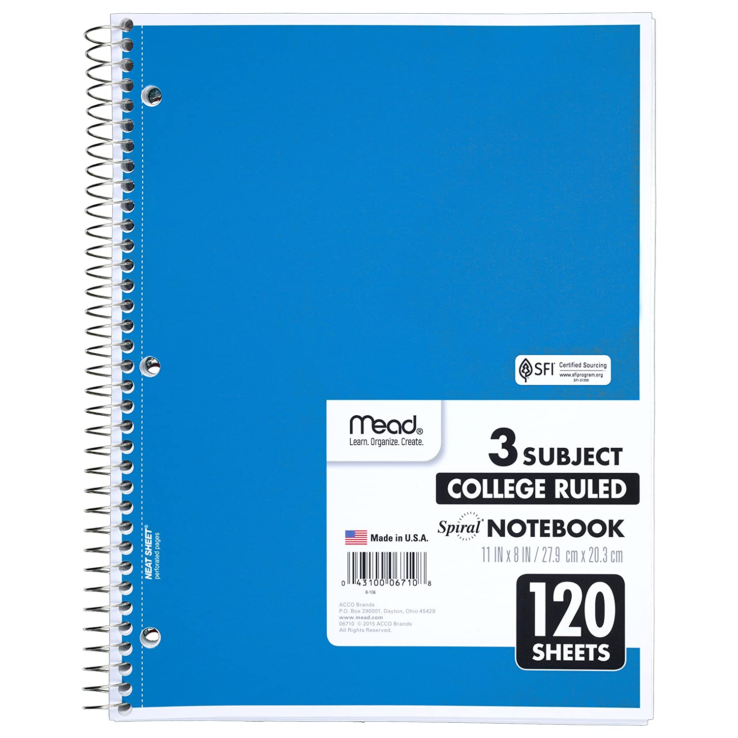 Amazon Mead 06710 Spiral Bound Notebook Perforated College – Print College Ruled Paper