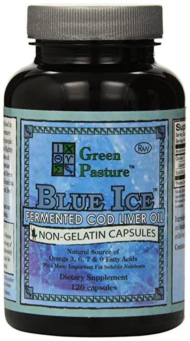 BLUE ICE Fermented Cod Liver Oil -Non-Gelatin Capsules