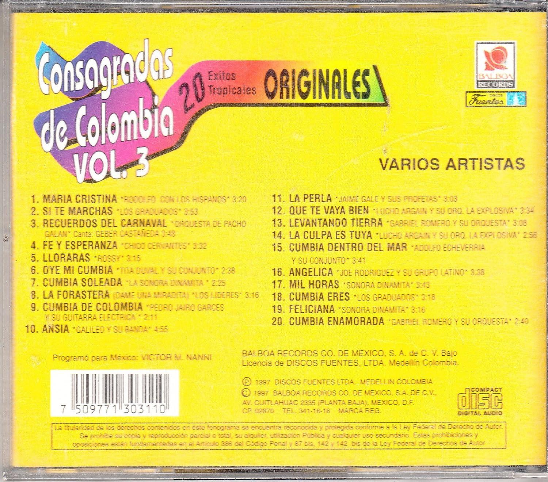Jaime Gale, Lucho Argain, Gabriel Romero, Sonora Dinamita Rodolfo Con Los Hispanos - Consagradas De Colombia Vol 3: Varios Artistas - Amazon.com Music