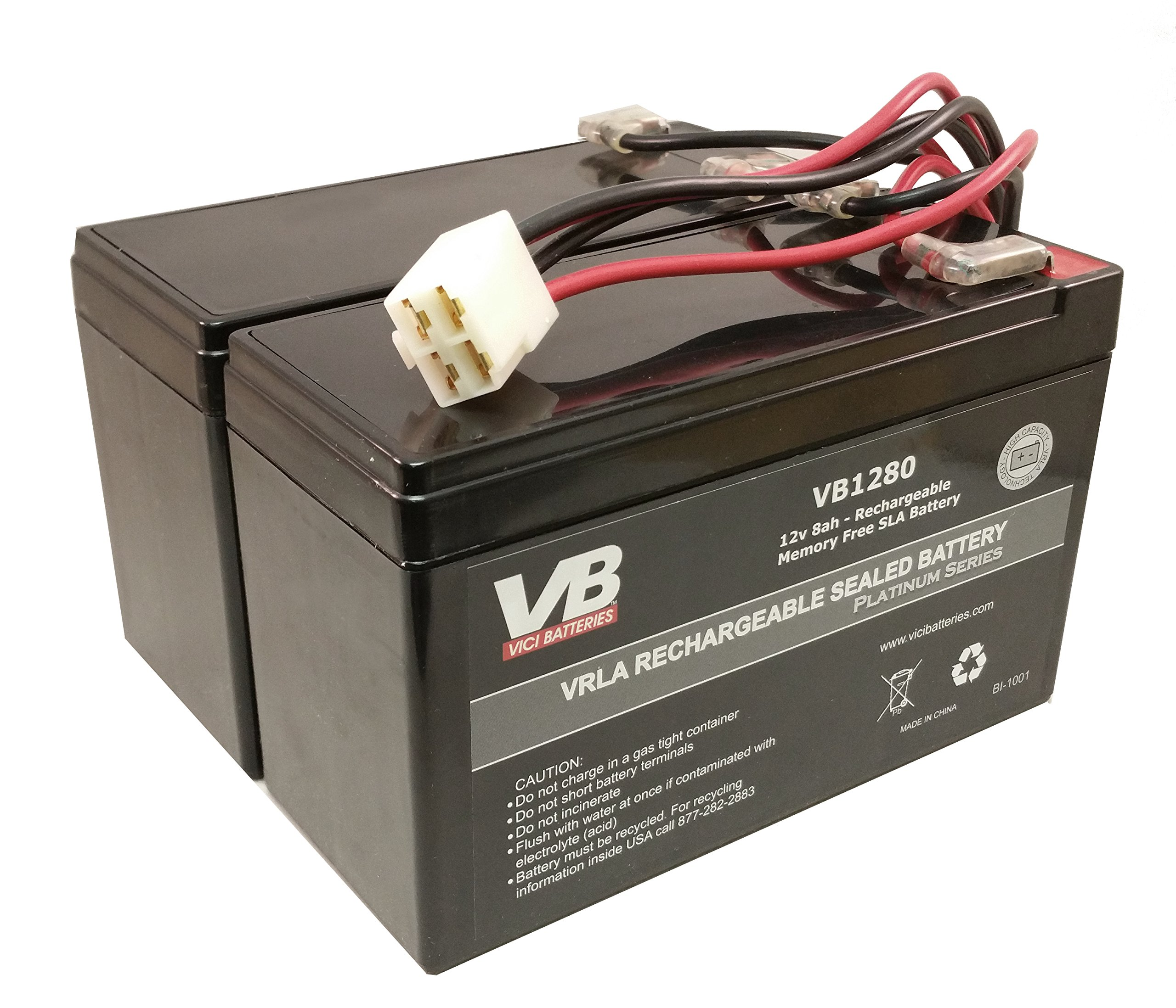 Razor Scooter Battery for e200 (Versions 8-12) & e300 (Versions 5-10 & 12) VICI Brand High Performance - Set of 2 Includes New Wiring Harness by Razor replacement by VICI