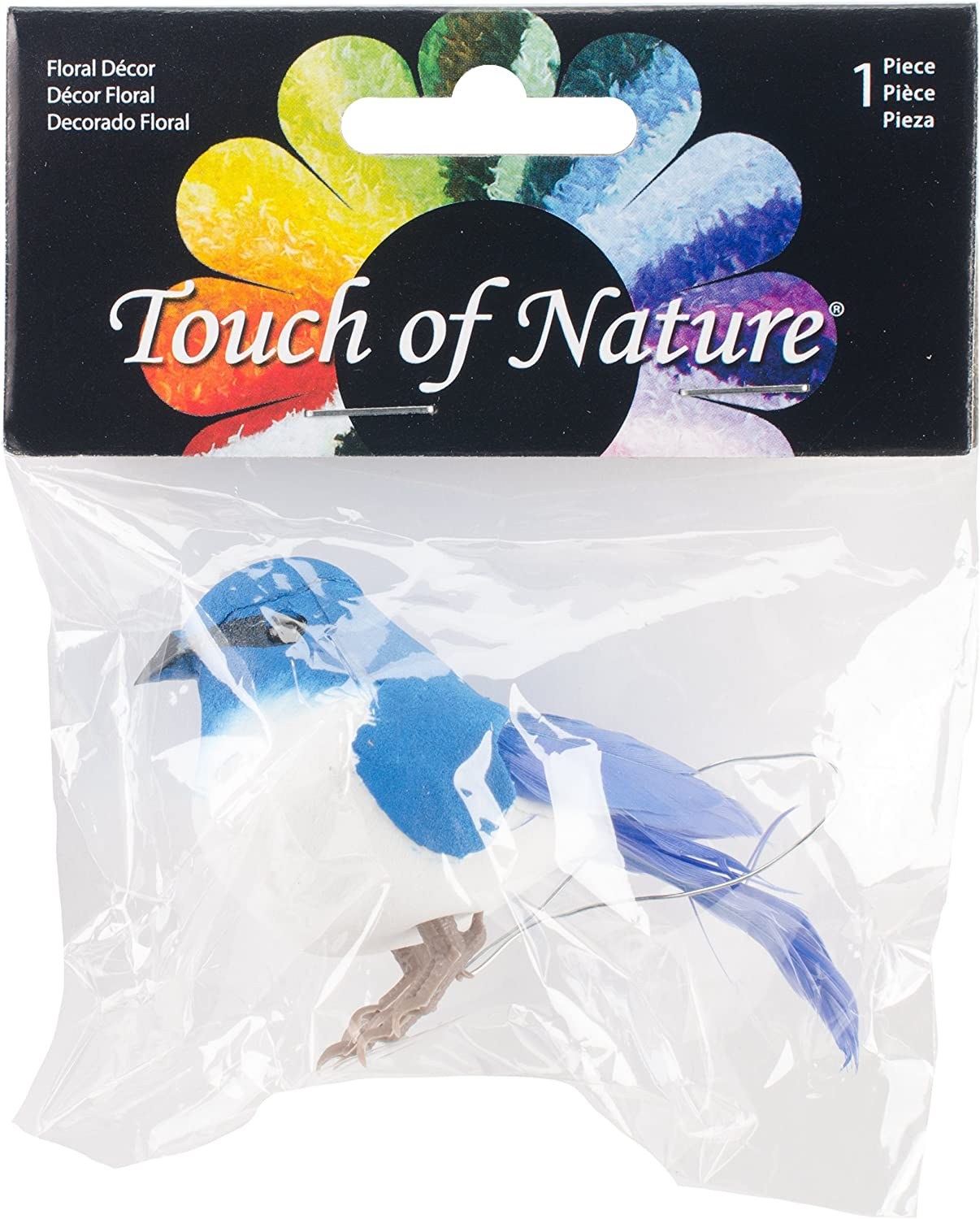 Touch of Nature 20559 1-Piece Mushroom/Feather Mountain Bluebird on Wire for Arts and Crafts, 3.5-Inch, Blue