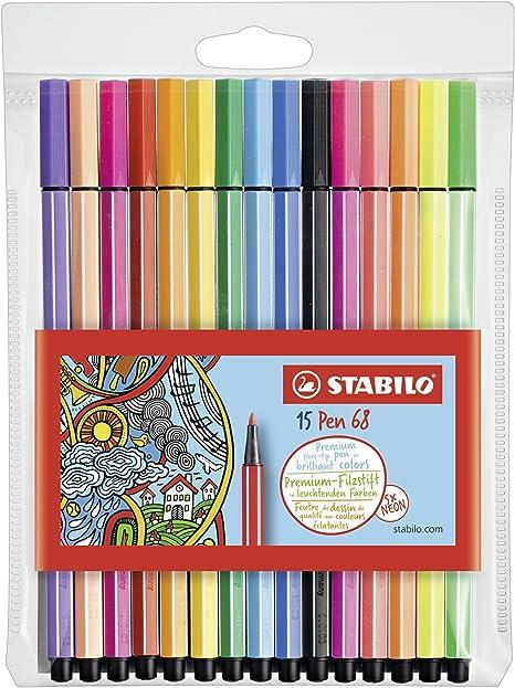 Oferta amazon: Stabilo Pen 68 Rotulador, Estuche con 15 colores surtidos, con 5 colores neón