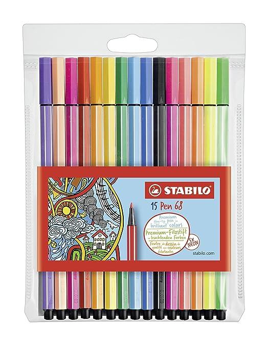 78 opinioni per STABILO Pen 68 Pennarelli colori assortiti (10+5 Neon)- Astuccio da 15