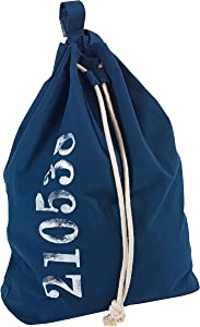 "Wenko 62041100 Laundry Bag Sailor Laundry Bin, Capacity 13.21 Gal, Cotton, 21.7 X 25.6 X 7.1"", Blue"