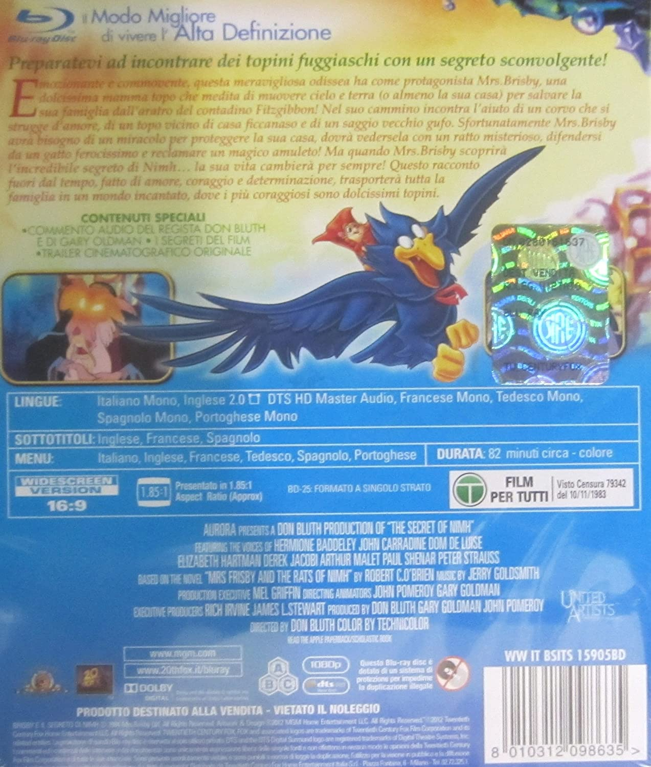 brisby e il segreto di nimh blu-ray disc registi Italia Blu-ray: Amazon.es: vari: Cine y Series TV