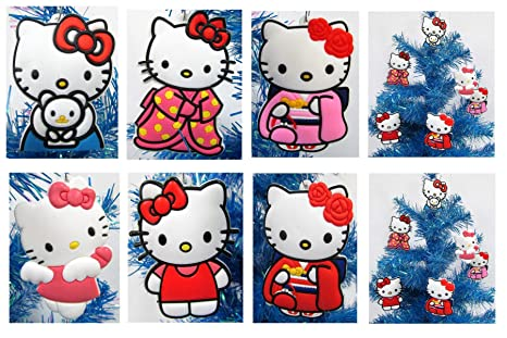 Hello Kitty Holiday Christmas Ornament Set Unique Shatterproof Plastic Design