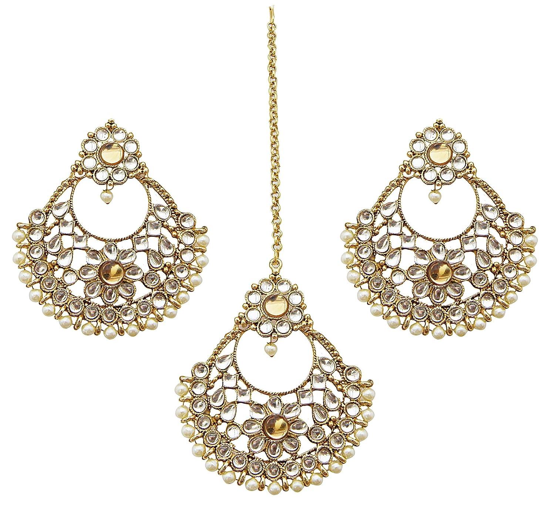 Jwellmart Women's Bridal Collection Kundan Stone Faux Pearl Maang Tikka Earring Set JMS1024