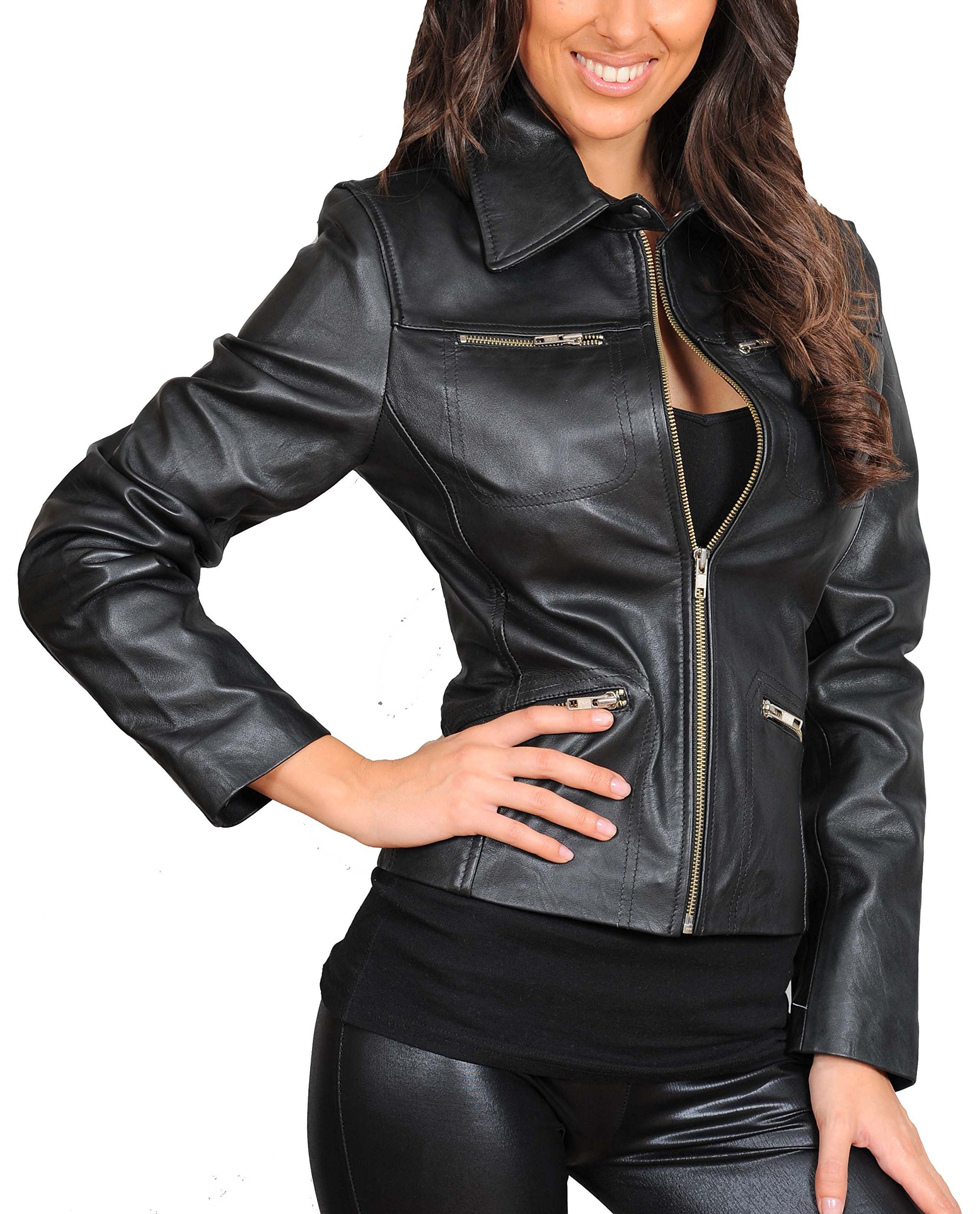 Ladies Real Soft Leather Biker Style Fitted Casual Zip up Jacket Zoe Black (Small)