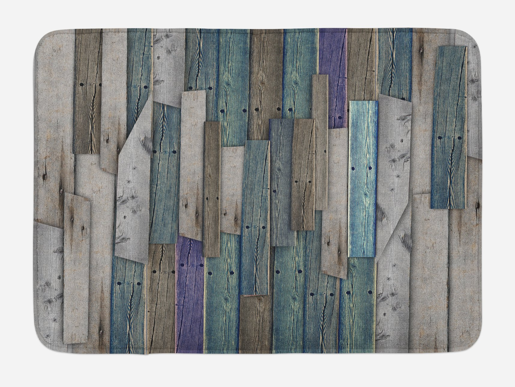 Ambesonne Wooden Bath Mat by, Blue Grey Grunge Rustic Planks Barn House Wood and Nails Lodge Hardwood Graphic Print, Plush Bathroom Decor Mat with Non Slip Backing, 29.5 W X 17.5 W Inches, Gray Blue