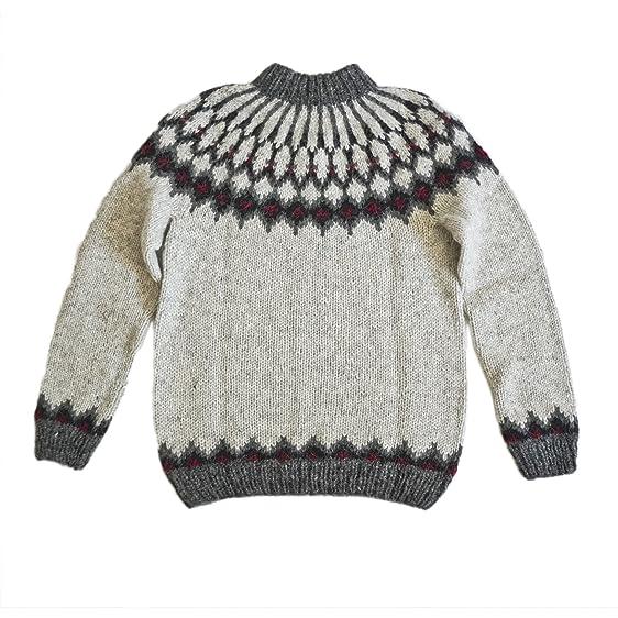 Hand Knit Traditional Icelandic Wool Sweater Hsi 223 Light Grey