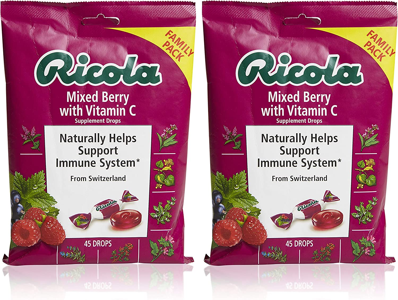 Ricola Mixed Berry Vitamin C Supplement Throat Drops, 45ct Bag (Pack of 2)