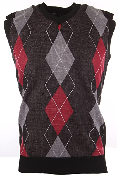 Enimay Mens Argyle/Plain V-Neck Golf Sweater Vest (Many Colors ...