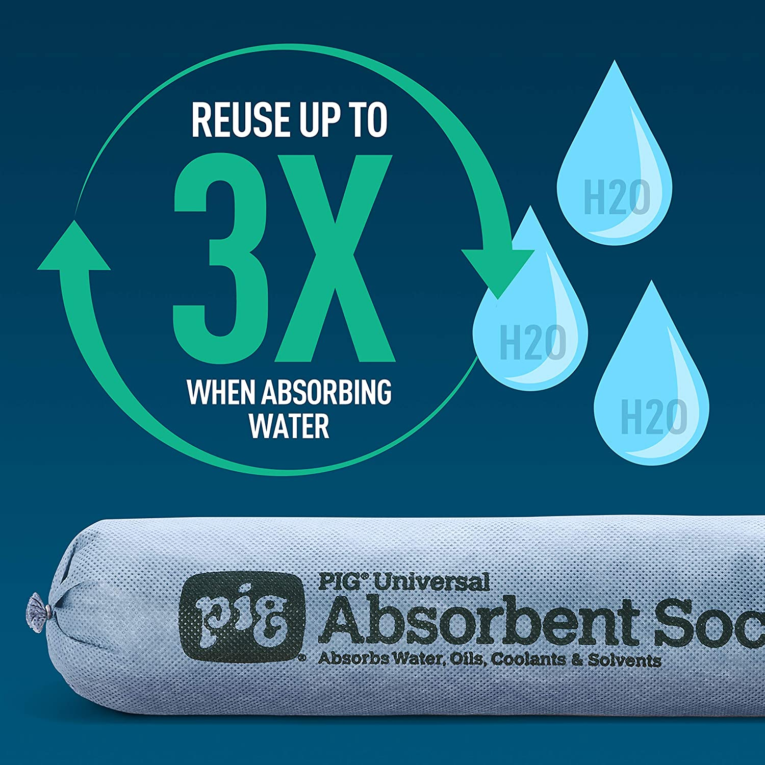 New Pig Absorbent Sock Absorbs 95 Ounces PIG238 New Pig Corporation 3 x 48 Box of 12