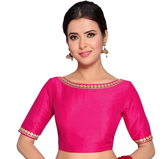 ce5eabf909e Studio Shringaar Women s Poly Raw Silk Embroidered Stitched Saree Blouse  (Pink  ...