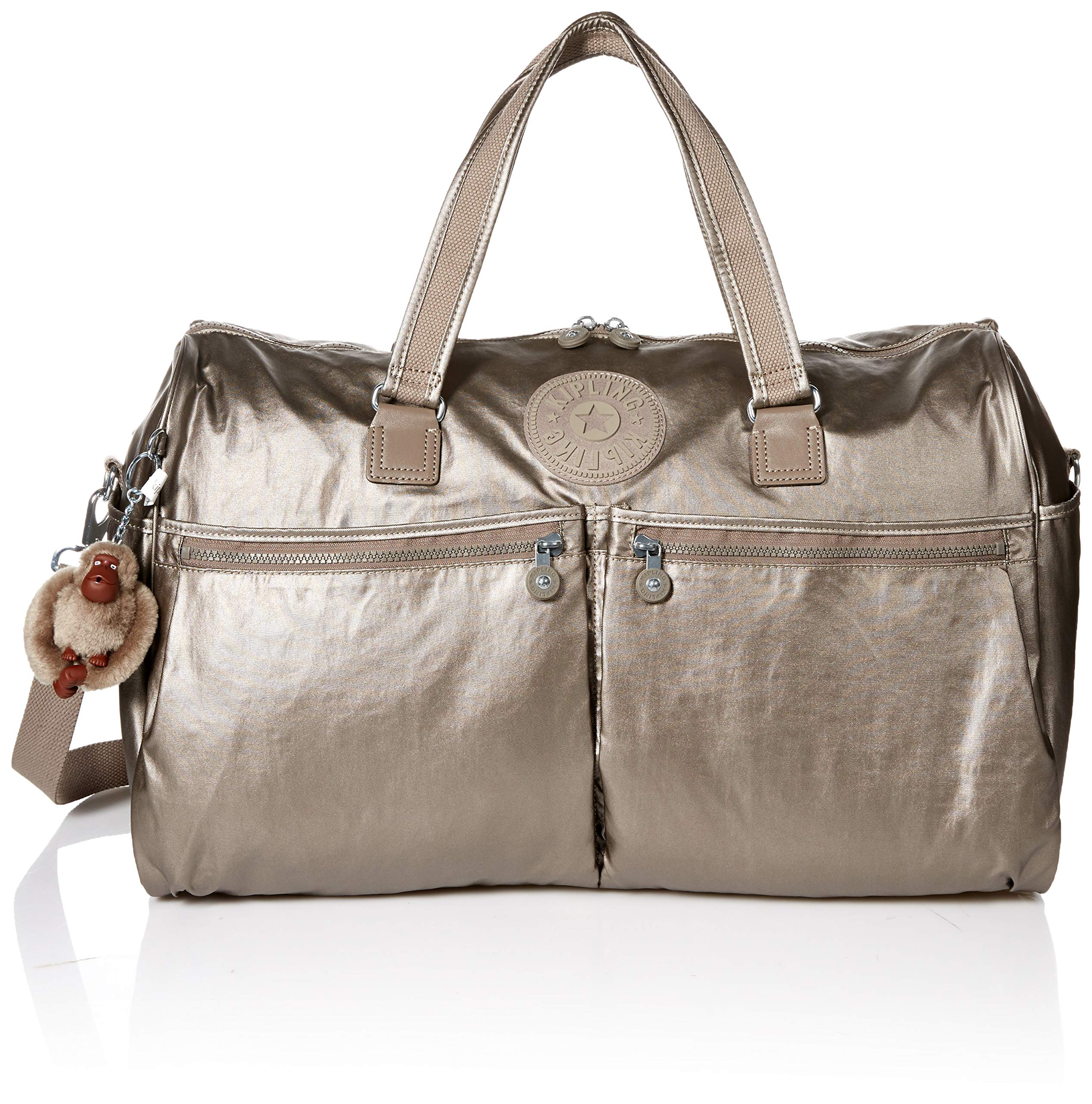 Kipling Itska Duffle, Essential Travel Bag, Multi Pocket, Zip Closure, metallic pewter