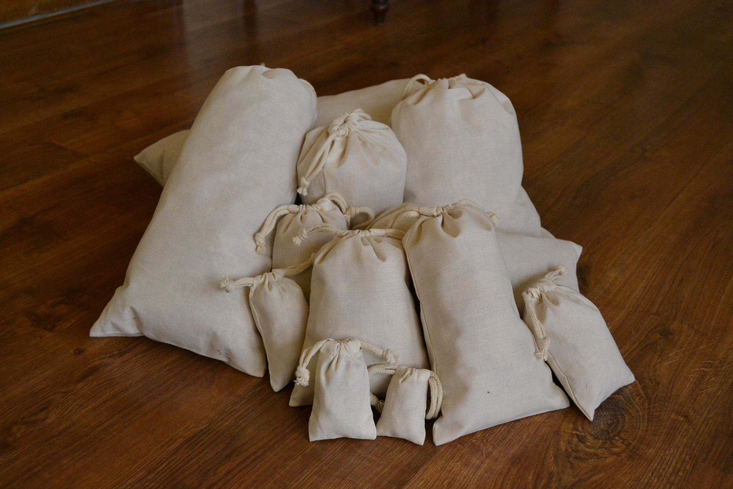 Cotton Double Drawstring Muslin Bag. Natural Color. 8''X''10. Count: 100