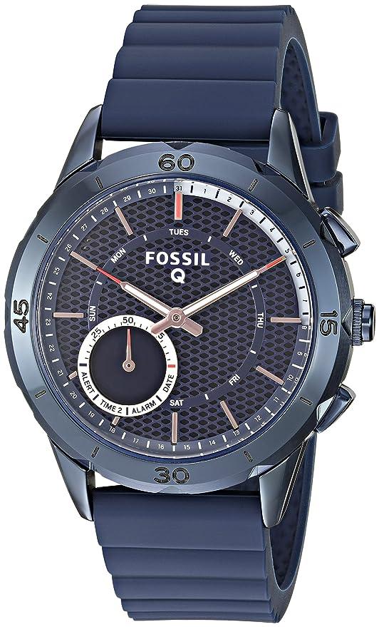 61431b6dae1c Amazon.com  Fossil Hybrid Smartwatch - Q Modern Pursuit Navy Blue  Watches