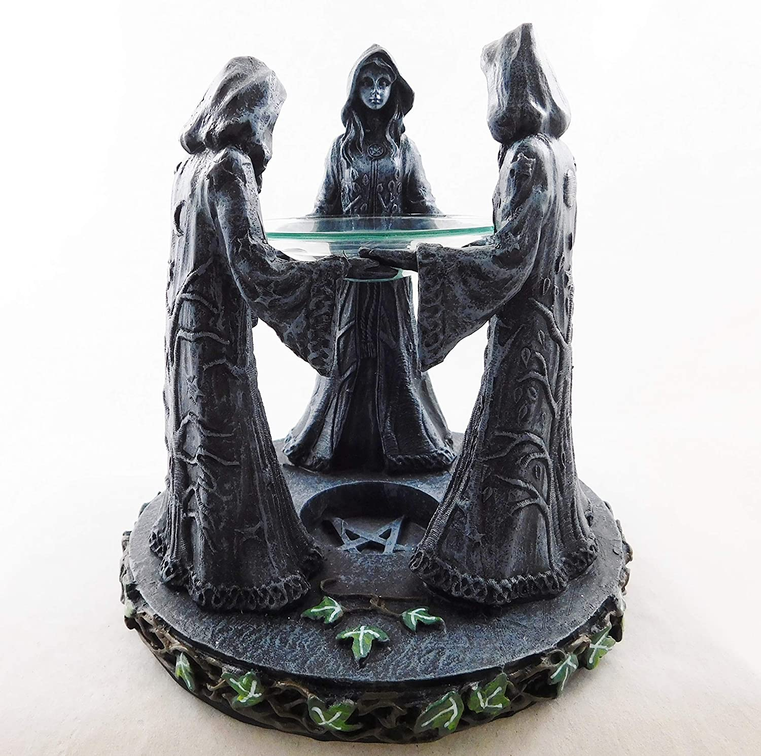Pagan Wiccan Figures | Maiden Mother Crone Incense Oil Burner Witchcraft Circle Seven Secrets