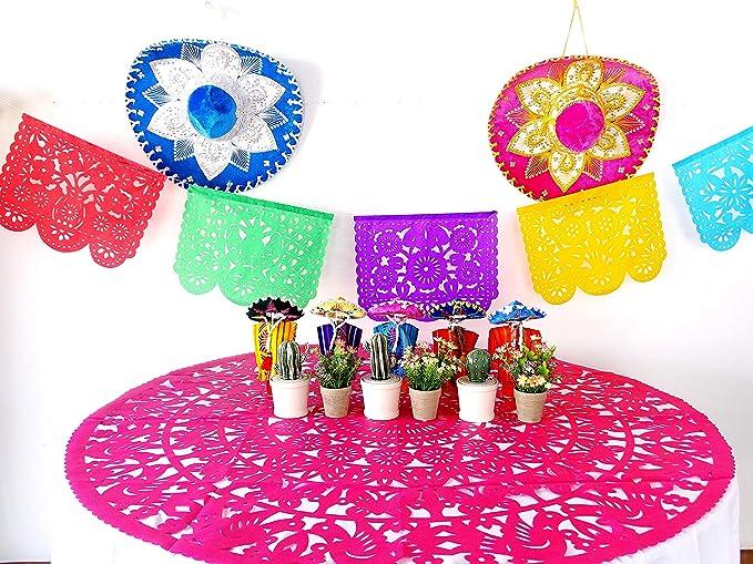 Cinco De Mayo Colorful Fiesta Stripe Tablecloth 52 x 90 inch Vinyl Flannel Backed Reusable Fiesta Table Cover Summer Party Fun!