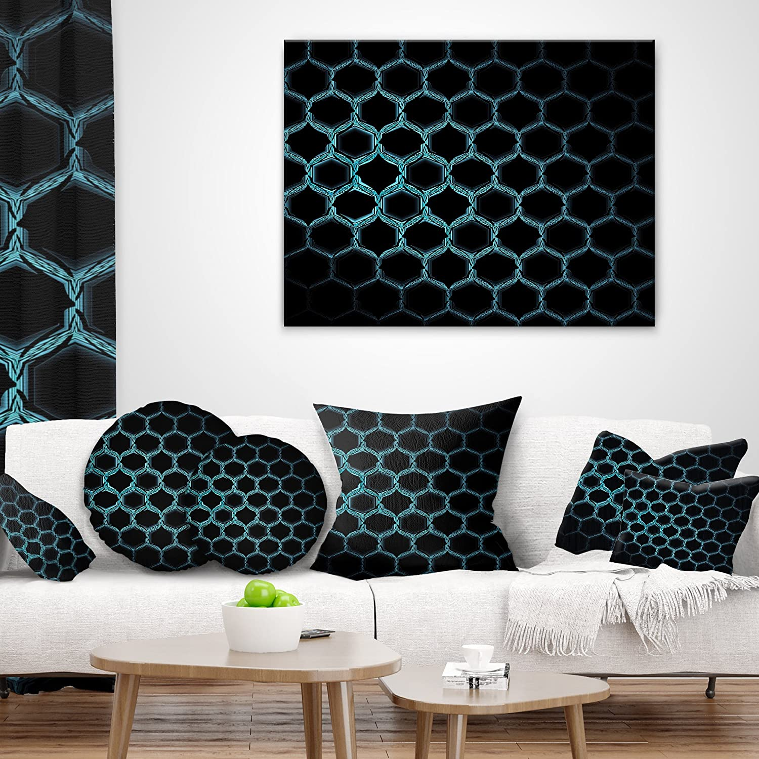 in Designart CU16419-16-16 Honeycomb Fractal Gold Hex Pixel Abstract Cushion Cover for Living Room Sofa Throw Pillow 16 in x 16 in