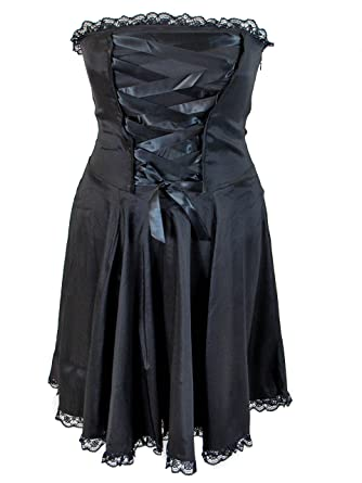 Plus Size Black Gothic Corset Strapless Satin Ribbon Lace Dress At