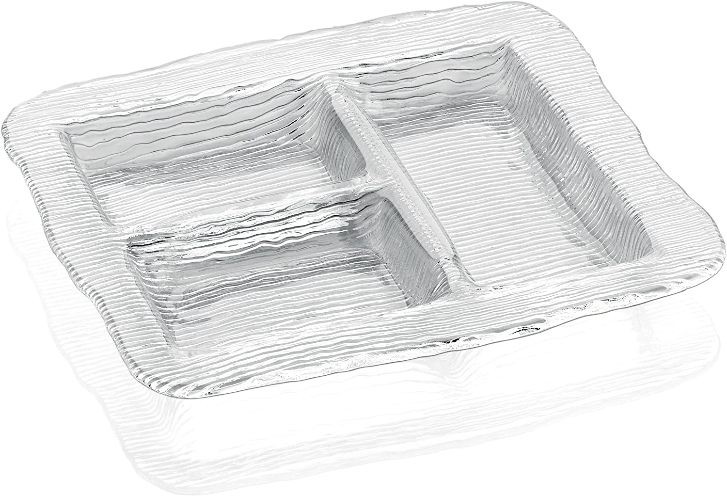 IVV Glassware All in One 2-Section Rectangular Relief Dish 12-1//5 by 5-1//5 Three Section Clear