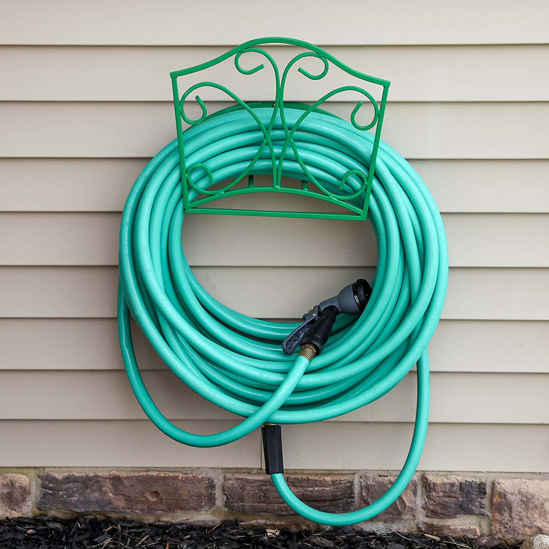Amazon garden hose holder decorative green wall mount amazon garden hose holder decorative green wall mount hanger rack including spray nozzle garden outdoor amipublicfo Image collections