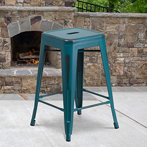 Flash Furniture Commercial Grade 4 Pack 24″ High Backless Distressed Kelly Blue-Teal Metal Indoor-Outdoor Counter Height Stool