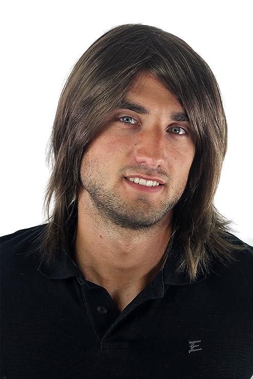 Peluca masculina, para hombre, pelo largo, juvenil, moderno, informal, castaño