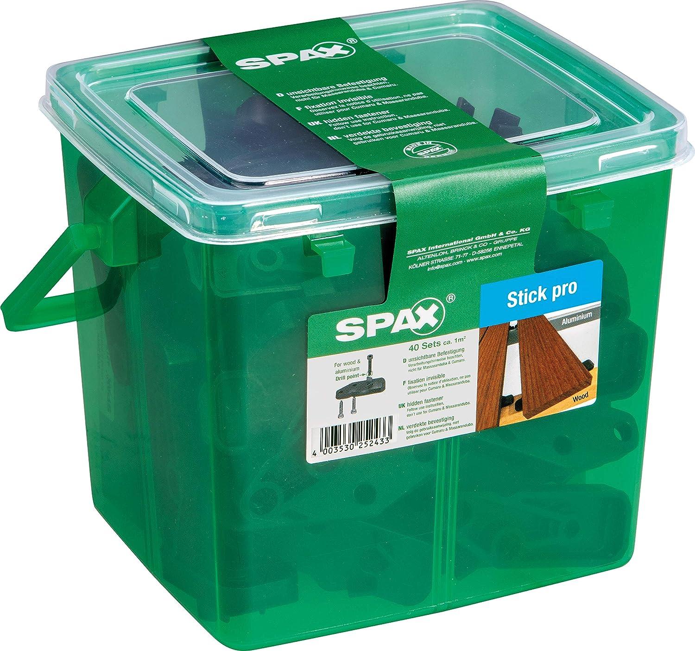 40 Sticks inklusive Zylinderkopfschrauben f/ür ca 5009422556609 schwarz 1 m/² SPAX Terrassentr/äger